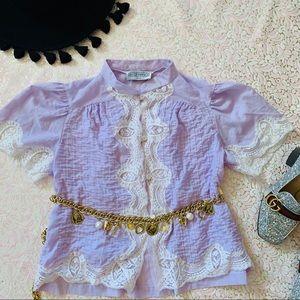 Vtg 80s Lavender Striped Lace Prairie Blouse XS SM